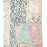 Zeichnung 1983.018 In Neil Aubrey's Frisiersalon, München, 1983 Frau mit Papilotten