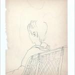 Zeichnung 1983.021 In Neil Aubrey's Frisiersalon, München, 1983 C., bereits bedauernd, sich das Haar geschnitten  lassen zu haben