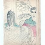 Zeichnung 1983.022 In Neil Aubrey's Frisiersalon, München, 1983 C., Neils Haarschnitt erwartend