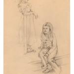 »Zwei Mädchen« Zeichnen  nach Modell München 1977 Bleistift auf  getöntem Skizzenpapier 24 cm x 37 cm